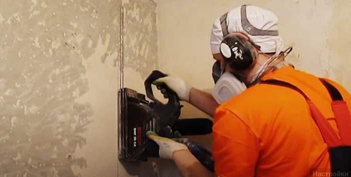 Пропил штробы в стене под кабель
