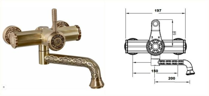 Смеситель для ванной Bronze de Luxe 10114 однорычажный