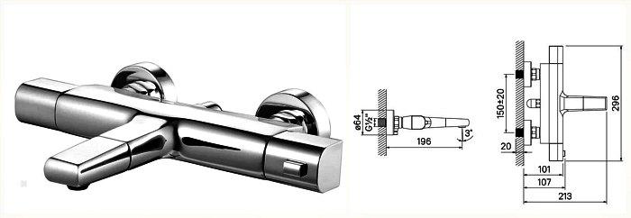 Смеситель для ванной IDDIS Uniterm TLMSBS0I74 двухрычажный с термостатом