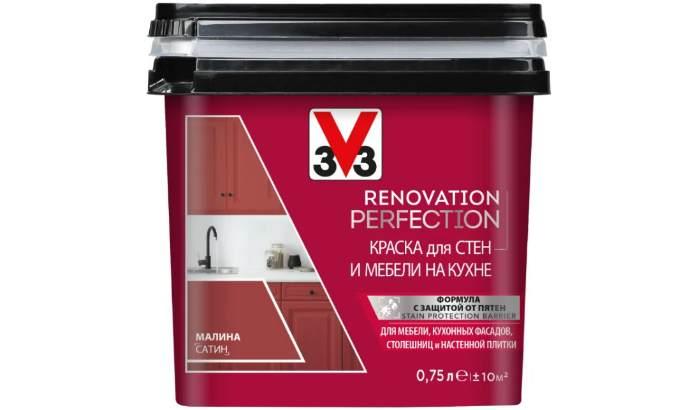 Краска акриловая V33 Renovation Perfection для стен и мебели на кухне влагостойкая моющаяся полуматовая