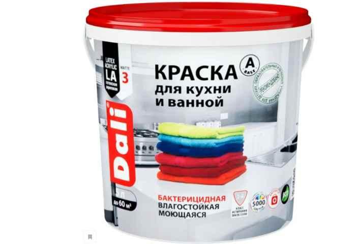 Краска акриловая DALI для кухни и ванной влагостойкая моющаяся матовая