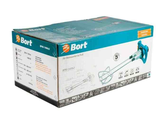 Строительный миксер Bort BPM-1400x2 1400 Вт в упаковке