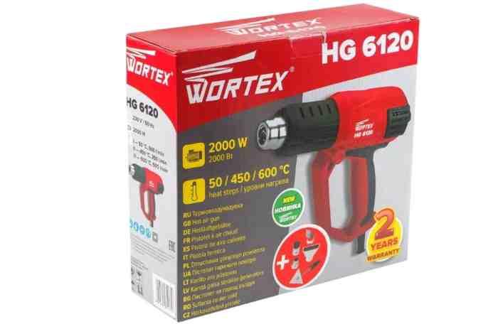 Строительный фен Wortex HG 6120 с насадками 2000 Вт в коробке