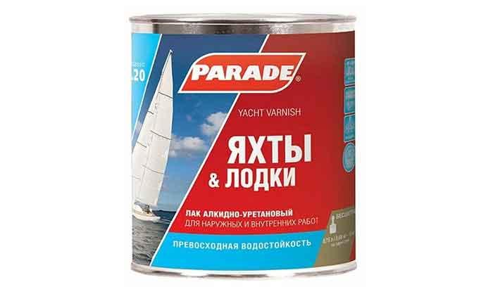 Лак яхтный Parade L20 Яхты & Лодки глянцевый алкидно-уретановый бесцветный 0.75 л