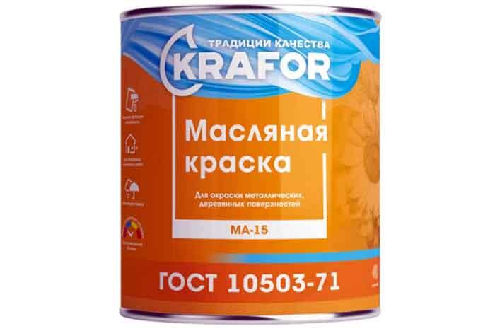 Краска масляная Krafor МА–15 глянцевая серый 0.9 кг