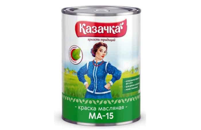 Краска масляная Казачка МА-15 моющаяся глянцевая белый 0.9 кг