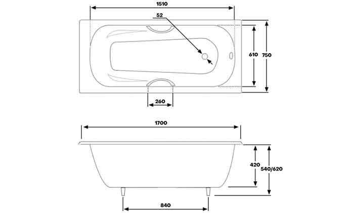 Размеры ванны Byon B15