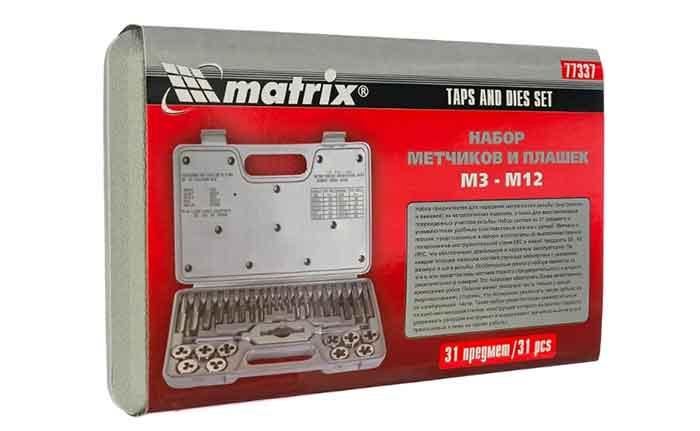 Набор метчиков и плашек matrix 77337 в кейсе
