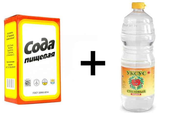 Сода + уксус от известкового налёта