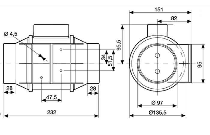 Размеры канального вентилятора Soler & Palau TD-160/100 N SILENT