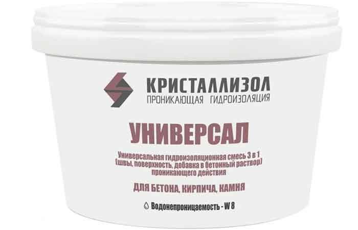 Проникающая гидроизоляция для бетона, кирпича, Кристаллизол Универсал ведро 15 кг
